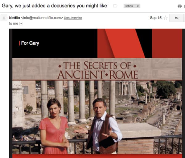 Netflix behavior data personalized email content recommendation based on customer interests