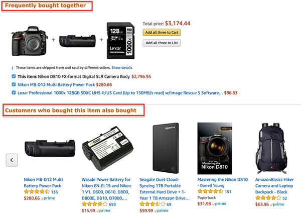 Amazon up-sell cross-sell recommendation engine others who bought also bought