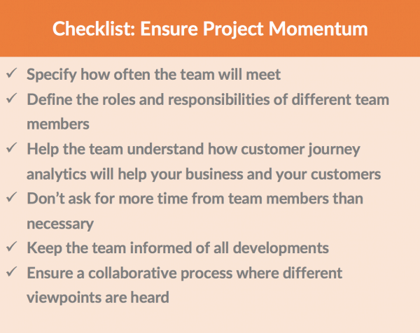 Checklist to Ensure Customer Journey Analytics Implementation Project Momentum