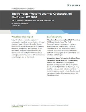 Forrester Customer Journey Orchestration report cover