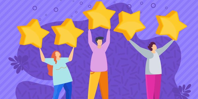 voice of the customer program - customers holding stars